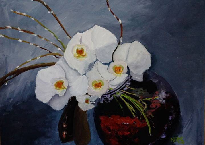 My orchid - Painting,  16x20 in, ©2015 by Noreen Schumann -                                                                                                                                                                                                                                                                                                                  Expressionism, expressionism-591, Nature, Still life, orchid, floral arrangement