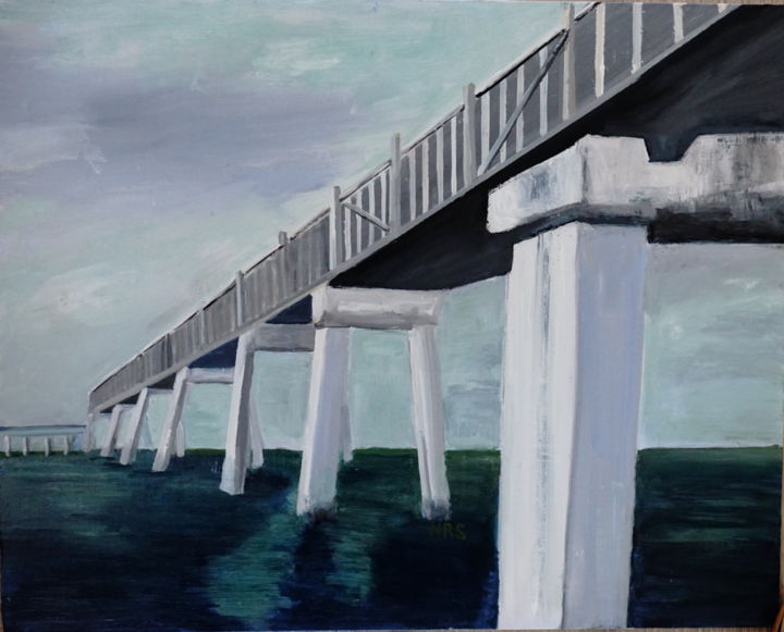 Sam's bridge - Painting,  16x20 in, ©2015 by Noreen Schumann -                                                                                                                                                                                                                                                                                                                  Expressionism, expressionism-591, Nature, Perspective, Bridge, Limited palette