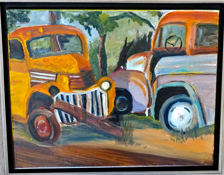 Three Natives - Painting,  11x14 in, ©2015 by Noreen Schumann -                                                                                                                                                                                                                          Expressionism, expressionism-591, Landscape, Trucks