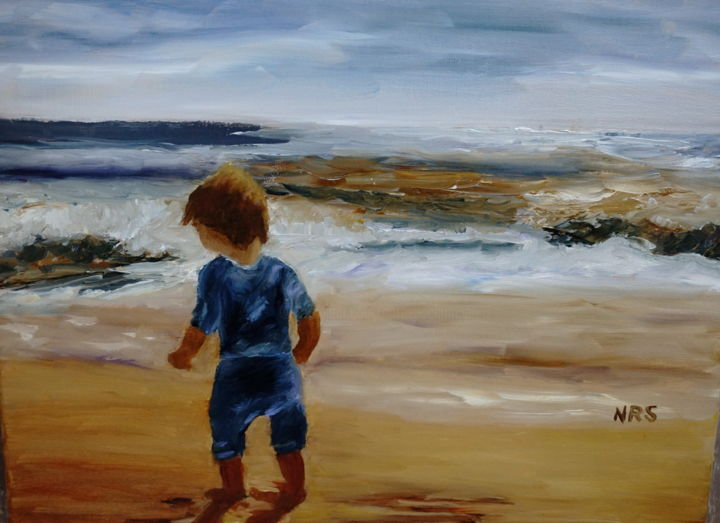 Celebrate what is good in your world - Painting,  11x14 in, ©2015 by Noreen Schumann -                                                                                                                                                                                                                                                                                                                                                              Expressionism, expressionism-591, Beach, child, beach, carefree, celebrate simple joys
