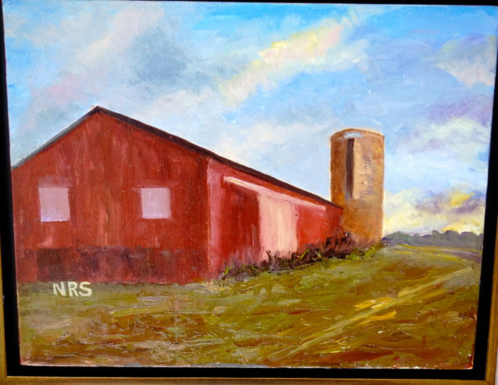 Serenity - Painting,  11x14 in, ©2015 by Noreen Schumann -                                                                                                                                                                                                                                                                                                                                                              Expressionism, expressionism-591, Rural life, Barn, times past, simplicity, God's paintbrush
