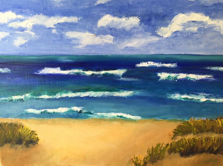Lake Michigan - Painting,  11x14 in ©2015 by Noreen Schumann -                                                            Expressionism, Canvas, Beach, Lake, beach