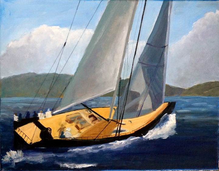Swanboat in BVI - Painting,  14x11 in ©2016 by Noreen Schumann -                                                            Expressionism, Canvas, Boat, Sailboat, Swanboat, racing boat, BVI