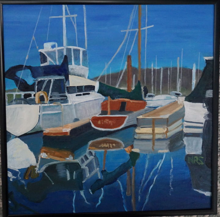 Marina reflections - Painting,  12x12 in ©2016 by Noreen Schumann -                                                            Expressionism, Canvas, Boat, Marina, Seascape