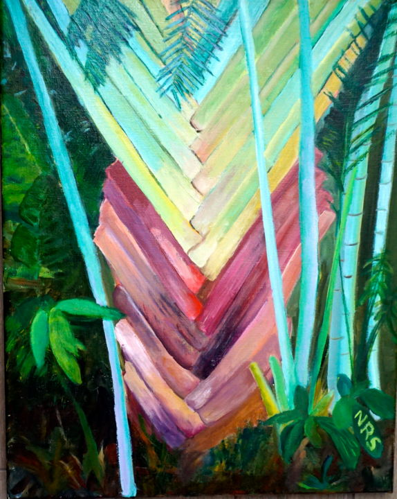 Fan Palm - Painting,  24x20 in ©2016 by Noreen Schumann -                                                            Expressionism, Canvas, Tree, Palms, Florida Palm