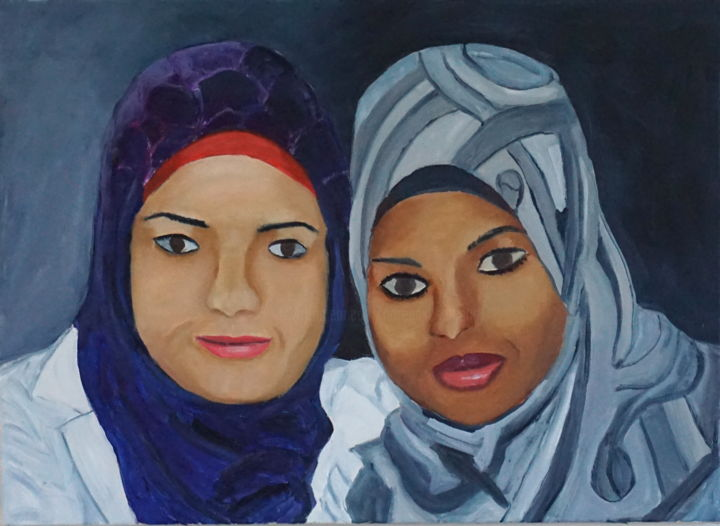 Jericho Women - Painting,  20x24 in ©2016 by Noreen Schumann -                                                            Expressionism, Canvas, Culture, women, Palestine, YMCA International