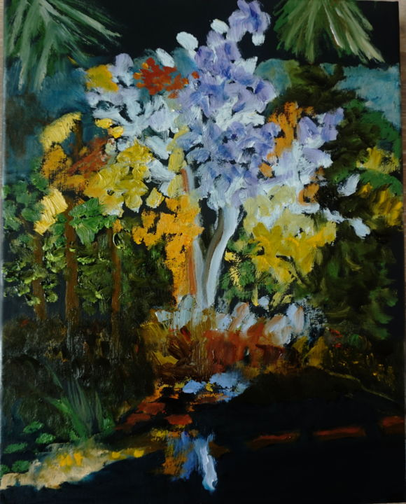 Lights in the Garden - Painting,  14x11x1 in ©2017 by Noreen Schumann -                                                        Expressionism, Canvas, Botanic