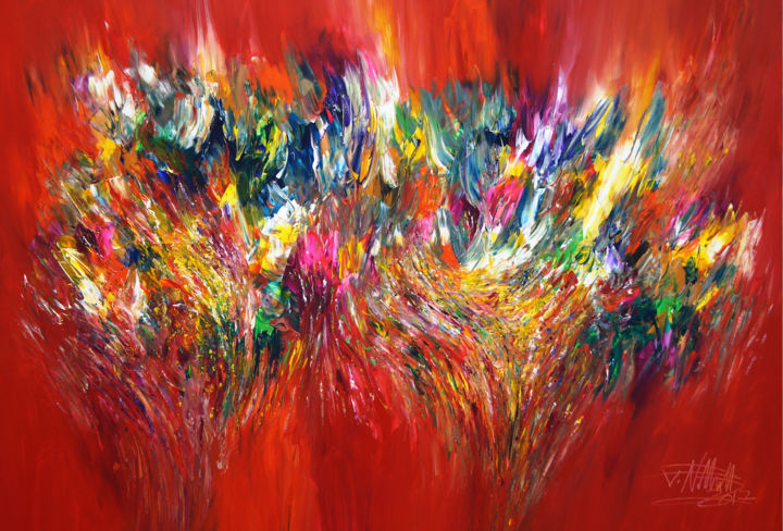 Vitality Red XL 1 - Malerei,  105x155x4 cm ©2017 von Peter Nottrott -                                                            Abstrakte Kunst, Leinwand, Abstrakte Kunst, red, abstract, painting, modern, artwork, Nottrott, ready to hang, unique, original, one of a kind, large, hugh, peintures, rouge, résumé, abstrakt, Gemälde, Kunst, rot, groß
