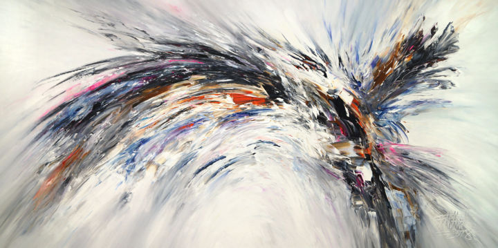 Black and white nature wings xxl 4 painting 100x200x4 cm 2018 by peter