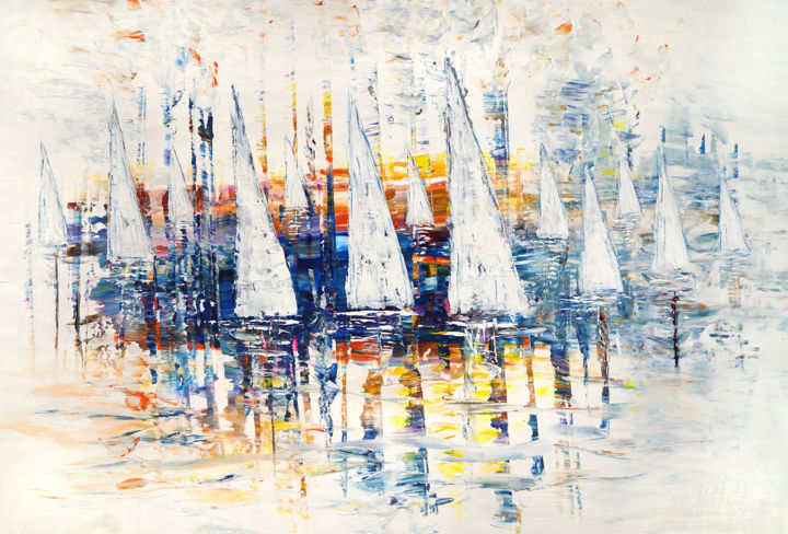 Abstrahiertes, maritimes Gemälde, überwiegend in S - Painting,  105x155x4 cm ©2019 by Peter Nottrott -                                                            Abstract Expressionism, Canvas, Seascape, modern painting, spatula technique, maritim painting, dynamique peinture, moderne peinture, Nottrott, ready to hang, maritimes Gemälde, Segelbild, sailing painting, bleu peinture