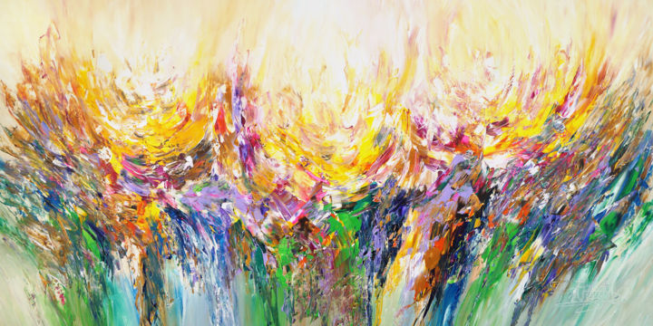 Abstract Summer Field XXL 1 - Painting,  100x200x4 cm ©2019 by Peter Nottrott -                                                        Abstract Art, Abstract Expressionism, Abstract Art, summer abstract, abstract painting, moderne peinture, piece unique, Sommer Gemälde, oversized painting, großes Gemälde, abstraktes Gemälde, Original, original on canvas, Unikat, one of kind, Nottrott, ready to hang