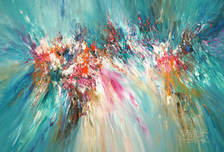 Turquoise Daydream XL 1 - Painting,  41.3x61x1.6 in ©2019 by Peter Nottrott -                                                        Abstract Art, Abstract Expressionism, Abstract Art, abstract painting, modern artwork, turquoise abstract, colorful painting, abstraktes gemälde, peinture moderne, peinture abstraite, peinture dynamique, original, Unikat, Nottrott, one of a kind, piece unique, türkises gemälde