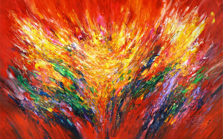 """Painting titled """"Red Energy XXXL 1"""" by Peter Nottrott, Original Art, Acrylic"""