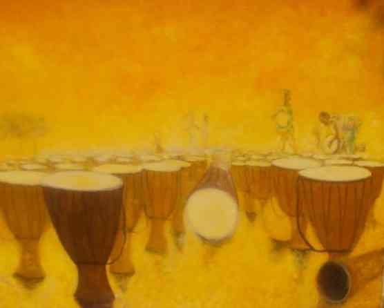 djembes - Painting,  25.6x31.9 in, ©2010 by Noufou Kabore -