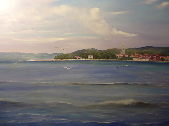 Isola - panorama - Painting,  27.6x39.4 in ©2018 by INGRID NOVAK -                                        Realism, Nature