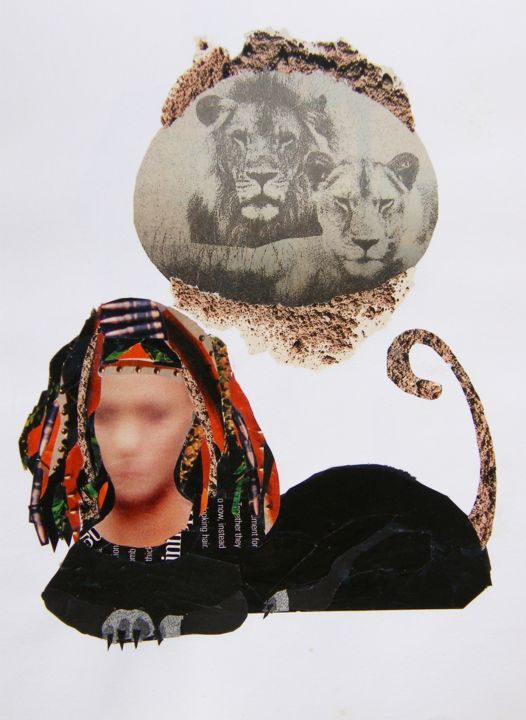"""Collages titled """"LIONESS"""" by Marcelo Novo, Original Art,"""
