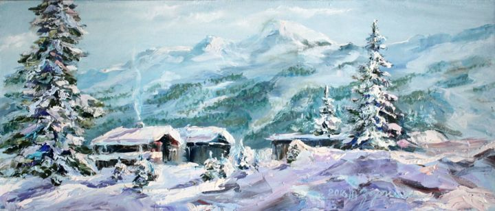 Breath of winter - Painting,  30x70x2 cm ©2016 by Tatyana Zorina -                                                                                                                                                                                                            Impressionism, Figurative Art, Modernism, Contemporary painting, Expressionism, Canvas, Mountainscape, Architecture, Seasons, Tree, Home, Places, Landscape, Nature, Travel, Алтай, гора, снег, зима, мороз, лес, ели, деревья, деревня, белуха, природа, seasons, tree, landscape, nature, Mountain landscape, journey, travelling