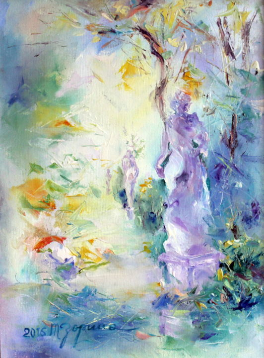Summer garden - Painting,  40x30 cm ©2016 by Tatyana Zorina -                                                                                                                                                                                                                                                                                                Impressionism, Abstract Art, Abstract Expressionism, Figurative Art, Modernism, Contemporary painting, Expressionism, Canvas, Places, Architecture, Seasons, Cities, Cityscape, Tree, Women, Culture, People, Nude, Landscape, Nature, Garden, Body, seasons, tree, people, landscape, nature, journey, travelling, St. Petersburg, Summer garden