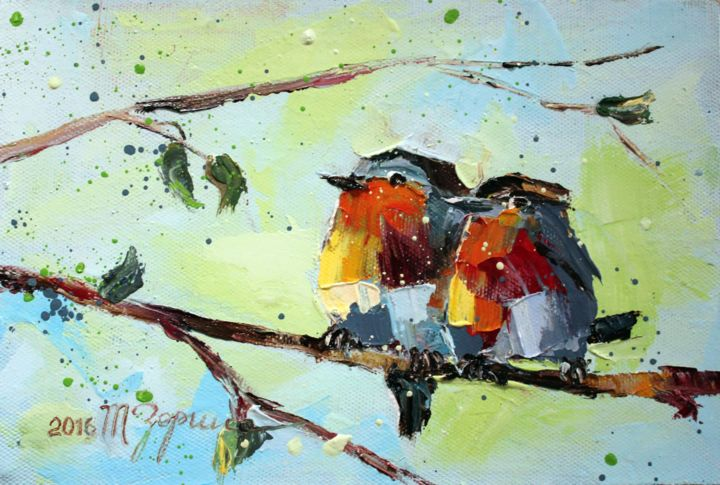 Birds of paradise - Painting,  20x30x2 cm ©2016 by Tatyana Zorina -                                                                                                                                                                        Impressionism, Abstract Expressionism, Figurative Art, Illustration, Modernism, Contemporary painting, Expressionism, Canvas, Tree, Animals, Nature, Birds, birds, the animals, natura, oil, canvas, impressionism, modern painting, art, realism, tree