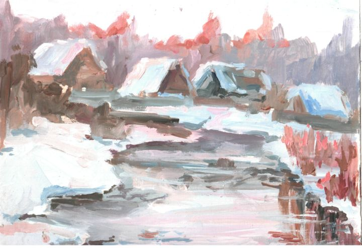 March - Painting,  15x20x0.1 cm ©2018 by Tatyana Zorina -                                                                                                                                                                                                                        Figurative Art, Impressionism, Modernism, Contemporary painting, Expressionism, Paper, Architecture, Water, Seasons, Home, Places, Landscape, Nature, Travel, Rural life, Farm, winter, snow, frost, sun, village