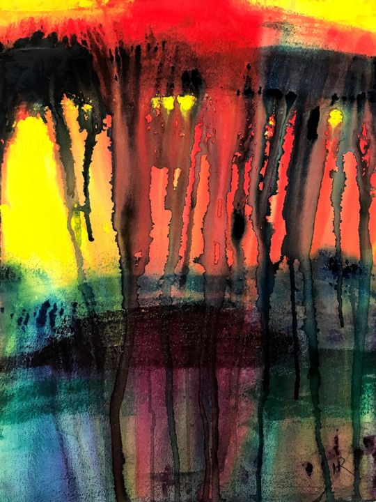 """Painting titled """"Red Rage Spilling O…"""" by Nancy Riedell, Original Art, Watercolor"""