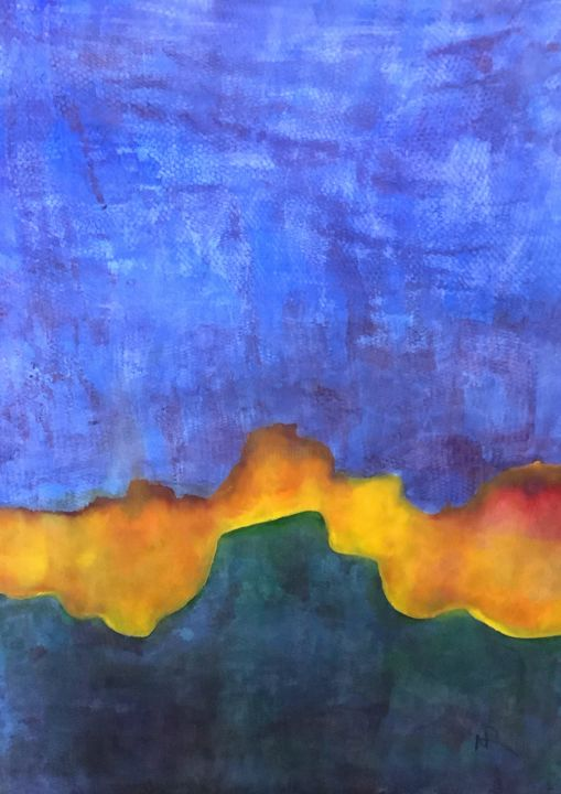 """Painting titled """"Abstract Sunrise"""" by Nancy Riedell, Original Art, Watercolor"""