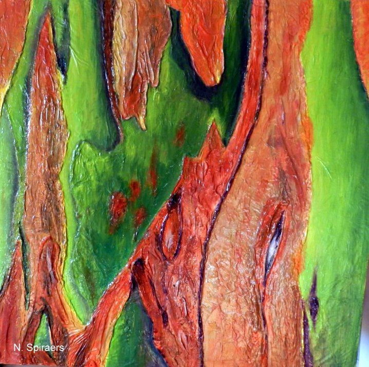 Eucalyptus Gomme du Mindanao - Painting,  40x40 cm ©2014 by Nicole Spiraers -                                                            Contemporary painting, Wood, Tree, Eucalyptus, Gomme du Mindanao, écorce d'arbre