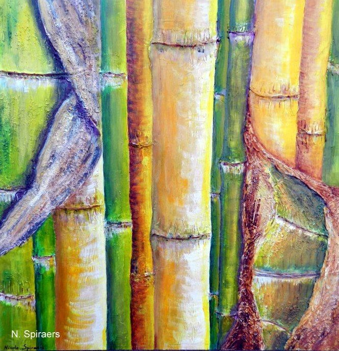 Bambous (Phyllostachys) - Painting ©2014 by Nicole Spiraers -                                                            Contemporary painting, Wood, Nature, Bambous, bambouseraie, Générargues, phyllostachys