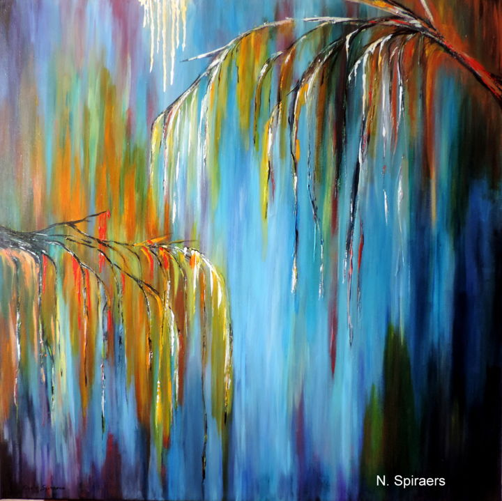 Pluie de septembre - Painting,  80x80 cm ©2015 by Nicole Spiraers -                                                            Abstract Art, Canvas, Abstract Art, pluie, arbre pleureur, automne