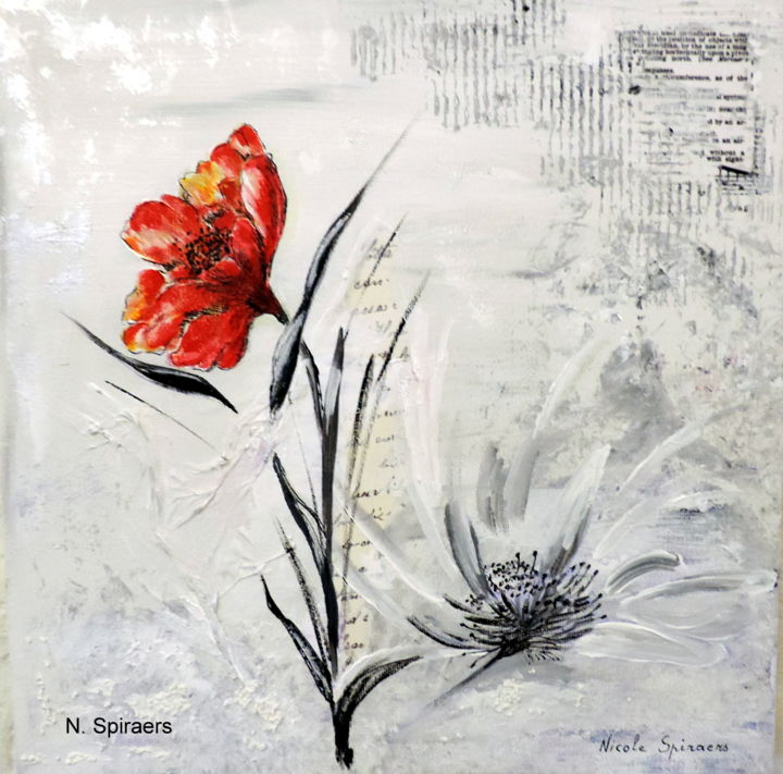 Les champs d'amour 2 - Painting,  30x30x3 cm ©2015 by Nicole Spiraers -                                                            Art Deco, Canvas, Flower, Coquelicot