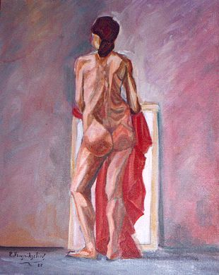 Nude back - Painting,  19.7x15.8 in, ©1986 by Roula Ntouli-Alexiou -                                                                                                                                                                          Cubism, cubism-582, Nude figure 2 (Oil on canvas)