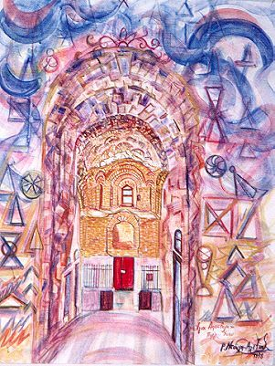 Saint Apostles at Pyrgi Chios - Painting,  55.1x39.4 in, ©1999 by Roula Ntouli-Alexiou -                                                                                                                                                                          Abstract, abstract-570, pyrgi Chios island Greece st. apostle