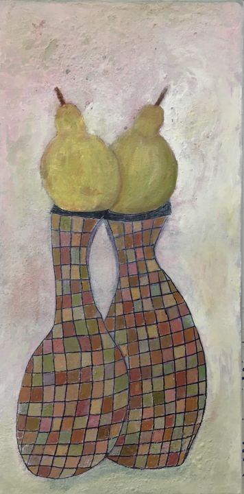 """Painting titled """"A Pair of a Pear"""" by Maria Rogers, Original Art, Acrylic"""