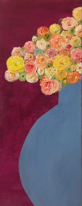 """Painting titled """"Blue Vase"""" by Maria Rogers, Original Art, Acrylic"""
