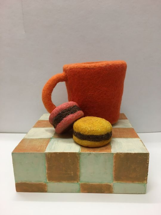 """Sculpture titled """"I Love Coffee"""" by Maria Rogers, Original Art, Fabric"""
