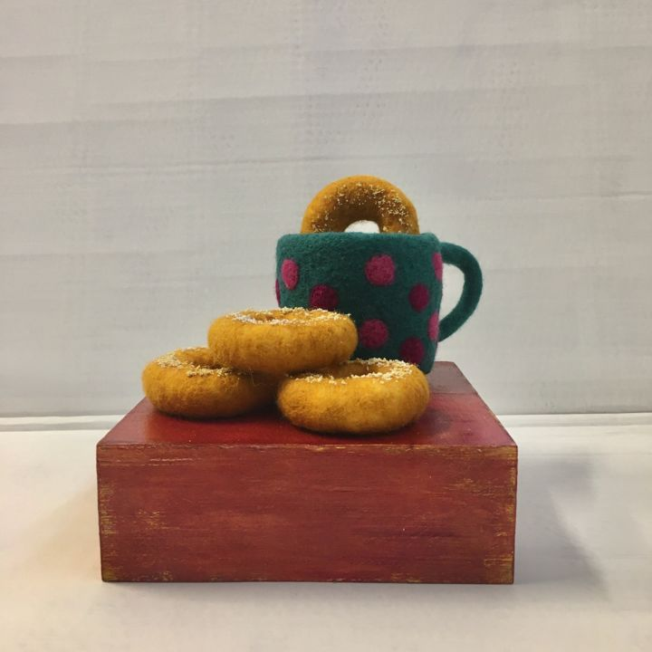 """Sculpture titled """"Dunking Donut"""" by Maria Rogers, Original Art, Fabric"""
