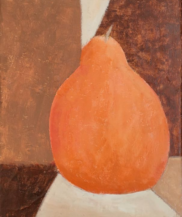 """Painting titled """"Orange Pear"""" by Maria Rogers, Original Art, Acrylic"""