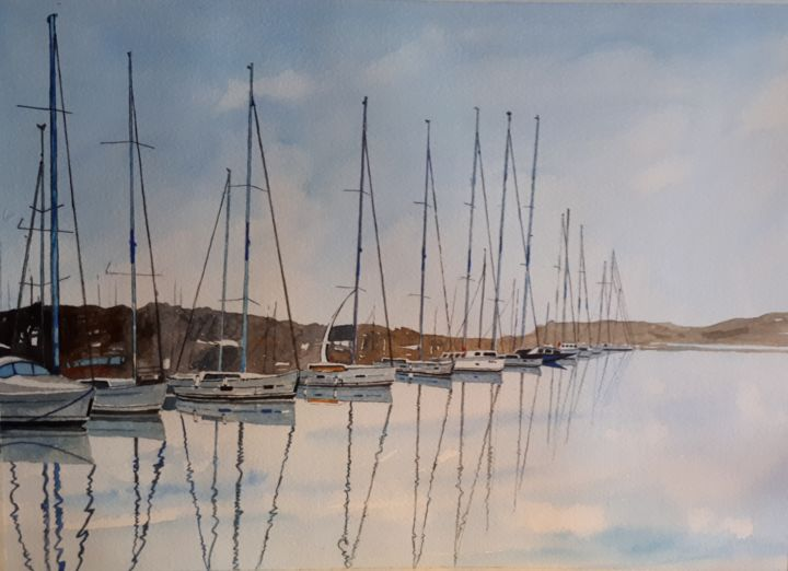 """Painting titled """"Yachts in Croatia H…"""" by Cathal O'Briain, Original Art, Watercolor"""