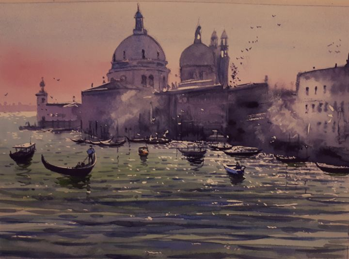 """Painting titled """"Venice"""" by Cathal O'Briain, Original Art, Watercolor"""