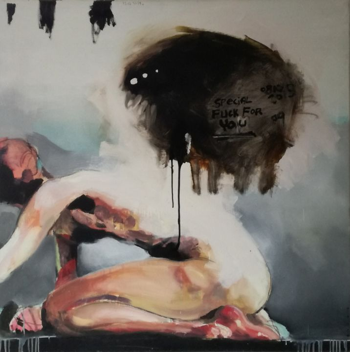 Special fuck for you - Painting,  100x100x2 cm ©2015 by Olivier DELIGEARD -                                                            Figurative Art, Canvas, Body, corps, nu