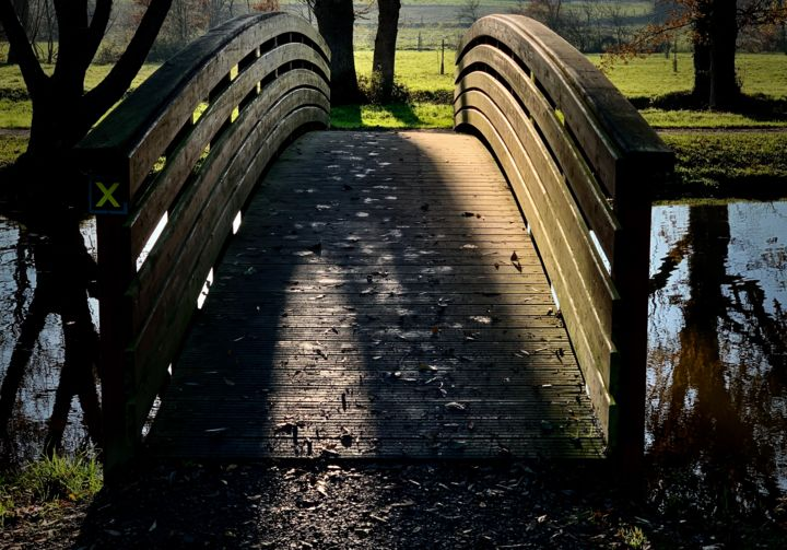 one more pass on the bridge - Photography, ©2019 by anthony hochet -                                                                                                                                                                                                                                                                                                                                          Rural life, pont, étang, promenade, bons moment, couleurs, Hochet Anthony