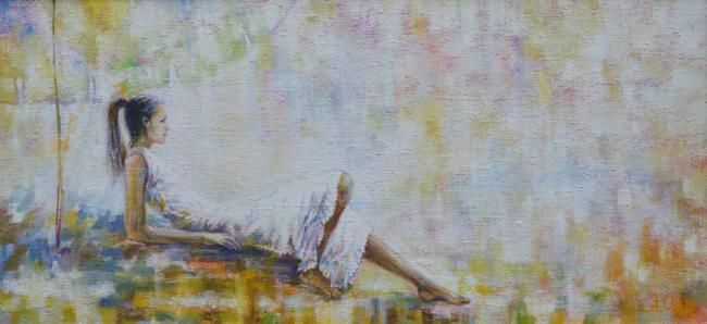 Painting,  102 x 48 cm ©2010 by Alexander Ochkal -  Painting, Impressionism, Sunny Morning