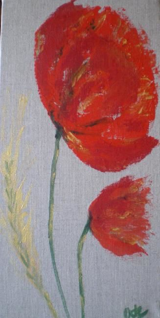 COUPLE COQUELICOT BLE - Painting,  15.8x7.9 in, ©2011 by Ode -