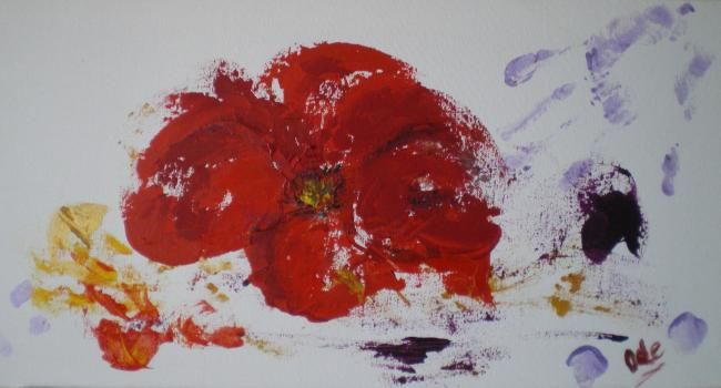 COQUELICOT SUR MA MAIN - Painting,  11.8x23.6 in, ©2011 by Ode -