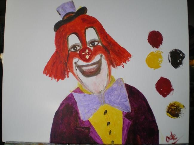 CLOWN CHARLY - Painting,  15x18.1 in, ©2011 by Ode -