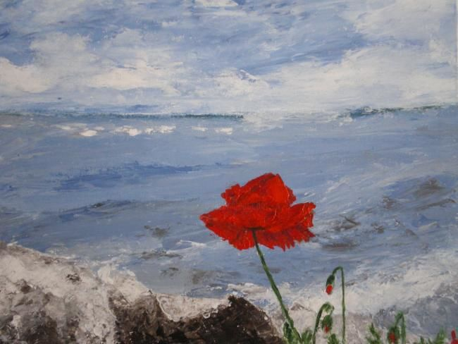 COQUELICOT SUR UN ROCHER - Painting,  15.8x19.7 in, ©2011 by Ode -