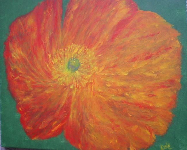 Un coquelicot soleil - Painting,  19.7x23.6 in, ©2012 by Ode -