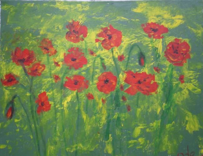 Coquelicot dans Colza - Painting,  15.8x19.7 in, ©2011 by Ode -