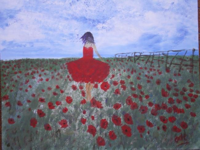 FEMME fleur - Painting,  38x46 cm ©2011 by Ode -