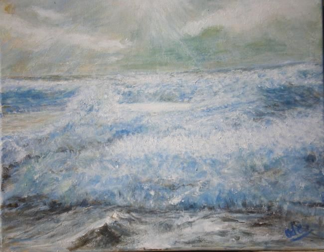 Mer agitée - Painting,  15x18.1 in, ©2011 by Ode -